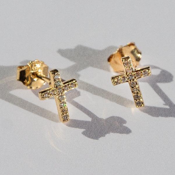 Boucles d'oreilles en forme de croix et ornées de zircon